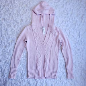 Old Navy Pink Cable Knit Hooded Sweater